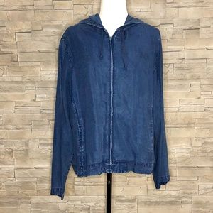 Talbots tencel denim hooded shirt